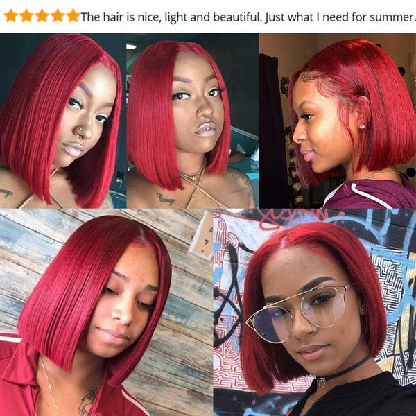 Red Short Bob Human Hair 13X6 Lace Front Wig Thick End Pre Plucked 6inch Part - omgbeautyhair