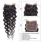 Water Wave 3/4 Bundles With Closure Brazilian Human Hair With Lace Closure Natural Color - omgbeautyhair