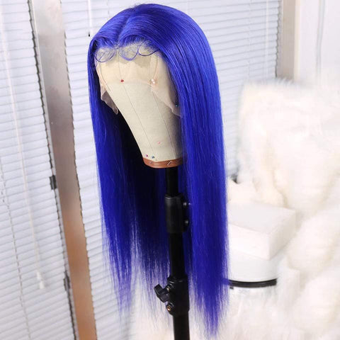 Blue Human Hair Lace Front Wigs Swiss Lace Cheap Brazilian Wigs Ship In 2 days