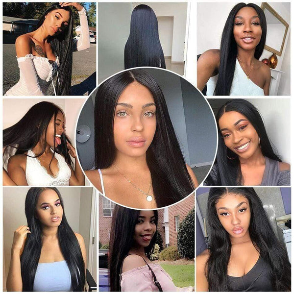 Virgin Human Hair Wigs 4x4 Lace Closure Wig Natural Color - omgbeautyhair