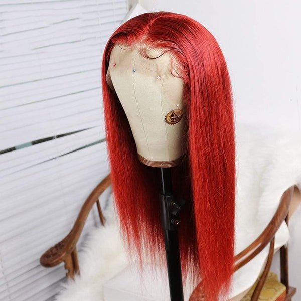 Red Human Hair Wigs Lace Front Wigs With Baby Hair Pre Plucked Hairline Bleached Knots - omgbeautyhair