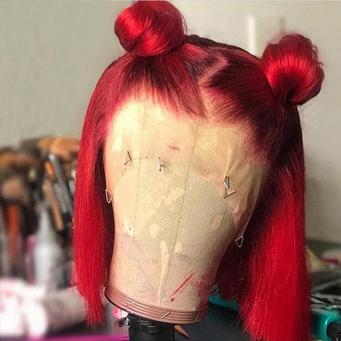 Red Short Bob Human Hair 13X4 Lace Front Wig Thick End Pre Plucked - omgbeautyhair