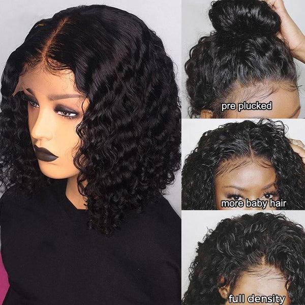 Curly Bob Lace Wigs Brazilian Virgin Human Hair Wigs Hair Natural Color Free Part - omgbeautyhair
