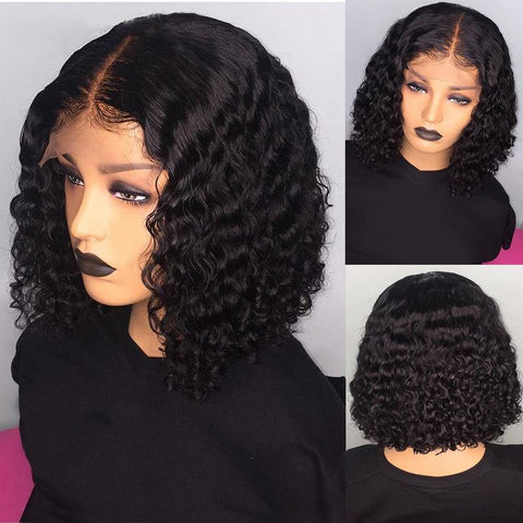 Curly Bob Lace Wigs Brazilian Virgin Human Hair Wigs Hair Natural Color Free Part