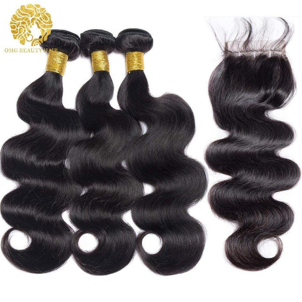 Body Wave Human Hair Bundles With 4×4 Lace Closure 3/4 Bundles Deal With Closure 3/4 Pcs/Lot - omgbeautyhair