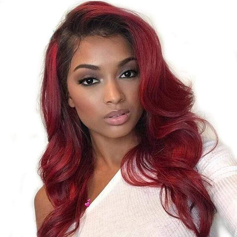 Body Wave Ombre 99j Lace Front Wig Burgundy Brazilian Virgin Human Hair Lace Front Wigs - omgbeautyhair