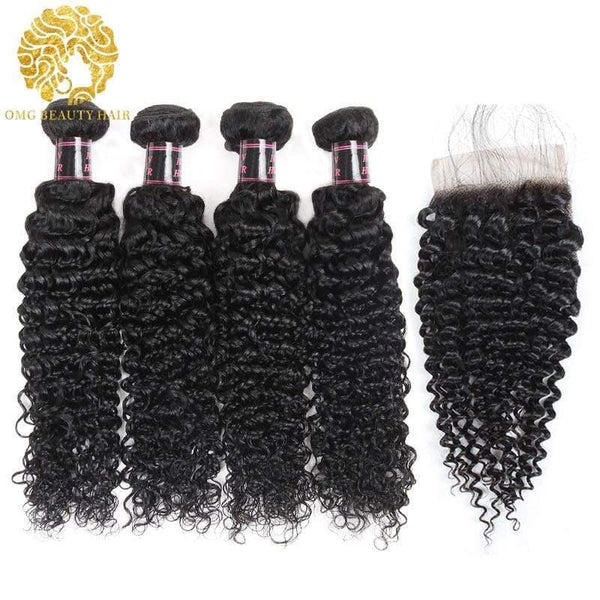 Kinky Curly Bundles With Closure Brazilian Human Hair With Lace Closure Ship From US - omgbeautyhair