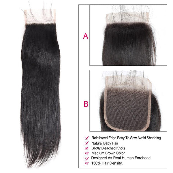 "8""-38"" Straight Human Hair Bundles With 4x4 Lace Closure 3/4 Bundles - omgbeautyhair"