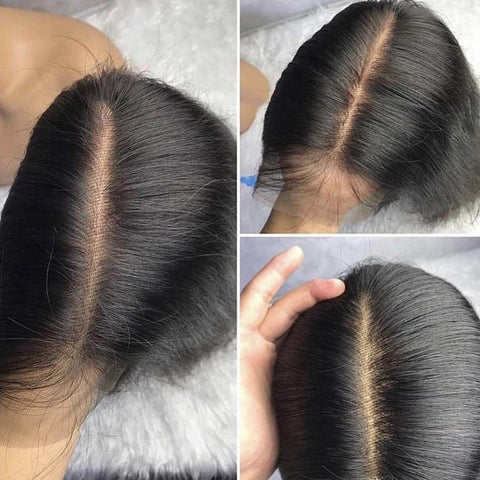 Long Straight Brazilian Virgin Human Hair Wigs With Baby Hair Natural Hairline - omgbeautyhair