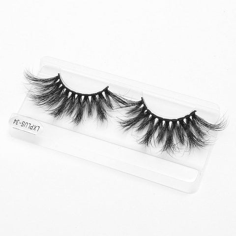 100% 5D Mink Eyelashes 25mm Wispy Fluffy Fake Lashes (LXPLUS34)