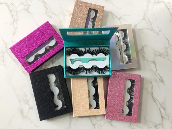 3 Pairs 25mm Mink Eyelashes with Colorful Box