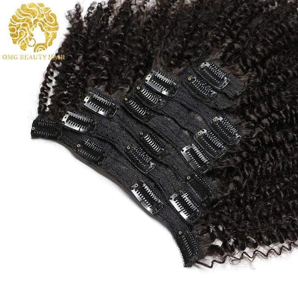 Afro Kinky Curly Weave Remy Hair Clip In Human Hair Extensions Natural Color Full Head 8Pcs/Set 120G Ship Free - omgbeautyhair