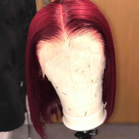 99J Burgundy Short Bob Human Hair 13X6 Lace Front Wig Thick End Pre Plucked - omgbeautyhair