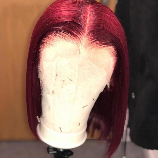 99J Burgundy Hair Short Bob Human Hair Red Bob Lace Front Wig Thick End - omgbeautyhair