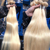 613 Blonde Hair Straight Bundles with 13x4 Lace Frontal Closure Brazilian Virgin Human Hair ship in 24hours - omgbeautyhair