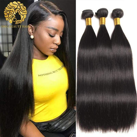 3/4Pcs Lot Straight Human Hair Weave Malaysian Virgin Hair Bundles Human Hair Bundles - omgbeautyhair