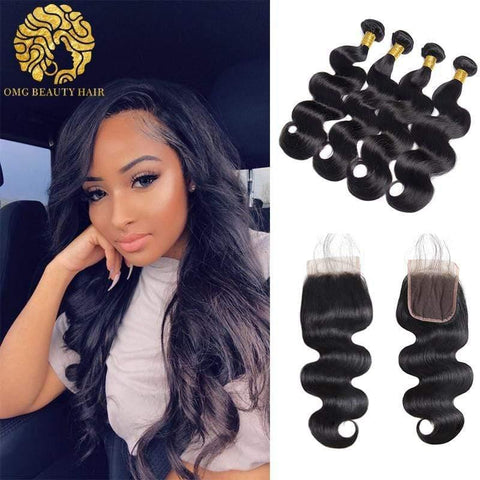 Body Wave Peruvian Human Hair Bundles With 4×4 Lace Closure 3/4 Bundles Deal With Closure - omgbeautyhair