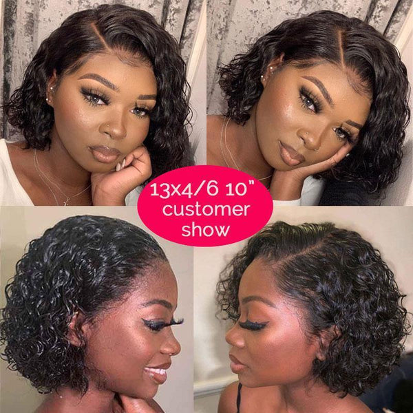 Pixie Cut Short Curly Bob Lace Wigs Brazilian Virgin Human Hair Wigs Hair Natural Color - omgbeautyhair