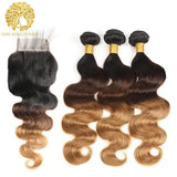 1B/4/27 Color Pre-Colored Ombre Bundles With Closure Body Wave Hair Brazilian Virgin Hair - omgbeautyhair