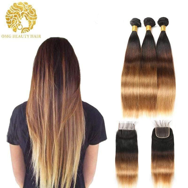 1B/4/27 Color Pre-Colored Ombre Bundles With Closure Straight Hair Brazilian Virgin Hair - omgbeautyhair