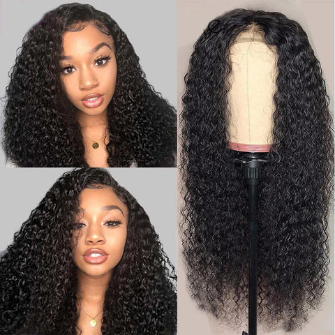 Deep Parting Curly Human Hair Wigs Free Part Full Ends Brazilian Virgin Pre Plucked Bleached Knots - omgbeautyhair
