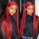 Bright Red Color Human Hair Lace Front  Wigs Pre Plucked Bleached Knots (k) - omgbeautyhair