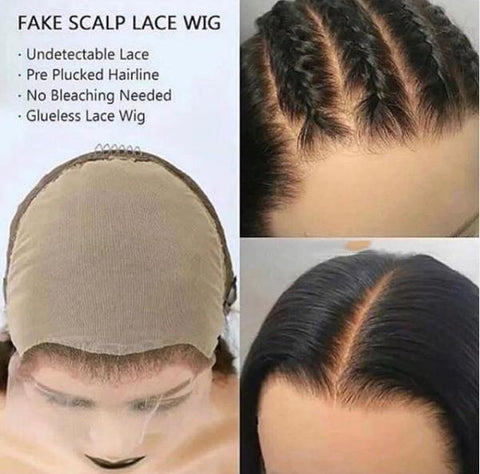 Straight Fake Scalp Wig 13x4 Deep Lace Front Human Hair Wigs Remy PrePlucked Bleached Knots - omgbeautyhair