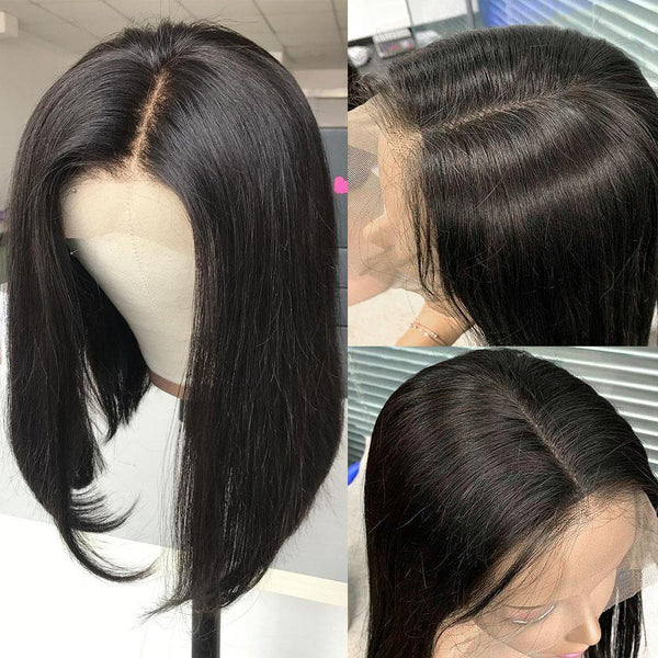 Short Human Hair Wig Bob Wigs High Density Free Part Deep Parting (leave notes for part side ) - omgbeautyhair