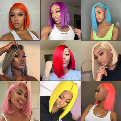 Colored 613 Bob Lace Front Wig 13*6 Blue Orange Red Green Human Hair Bob Wigs - omgbeautyhair