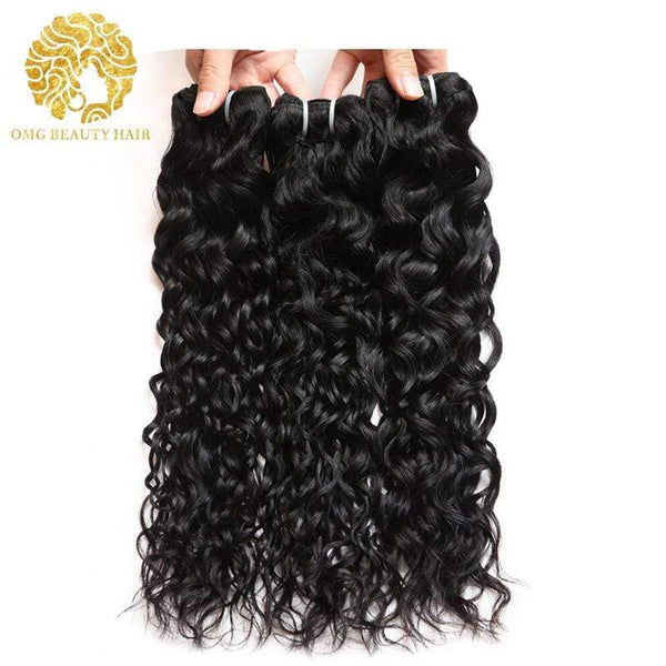 Water Wave Human Hair Weave Brazilian 100% Human Hair Bundles Ship From US - omgbeautyhair