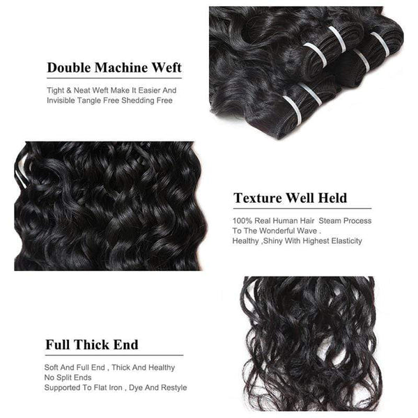 Water Wave Bundles With Closure Brazilian Human Hair With Lace Closure Ship From US - omgbeautyhair