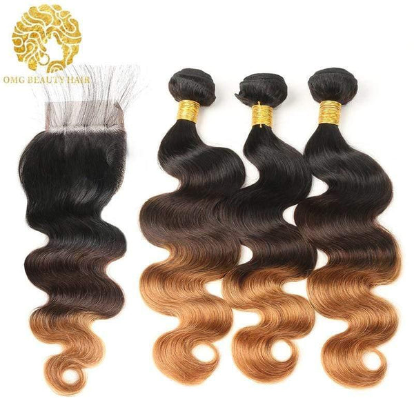 1B/4/30 Color Pre-Colored Ombre Bundles With Closure Body Wave Hair Brazilian Virgin Hair - omgbeautyhair