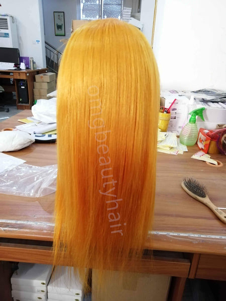 Saffron Yellow Human Hair Wigs For Women Lace Front Wigs Free Part Swiss Lace Cheap Brazilian Wigs - omgbeautyhair