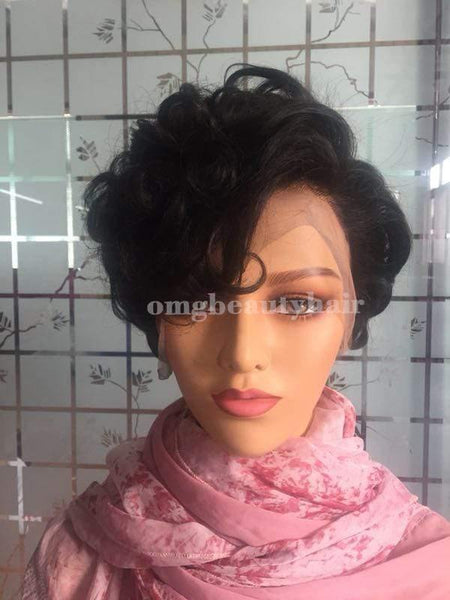 Short Curly Human Hair Wigs Bob Wigs Bleach Knots Natural Hairline Model Picture 8inch - omgbeautyhair