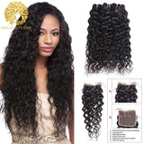 Water Wave Bundles With Closure Brazilian Human Hair With Lace Closure - omgbeautyhair
