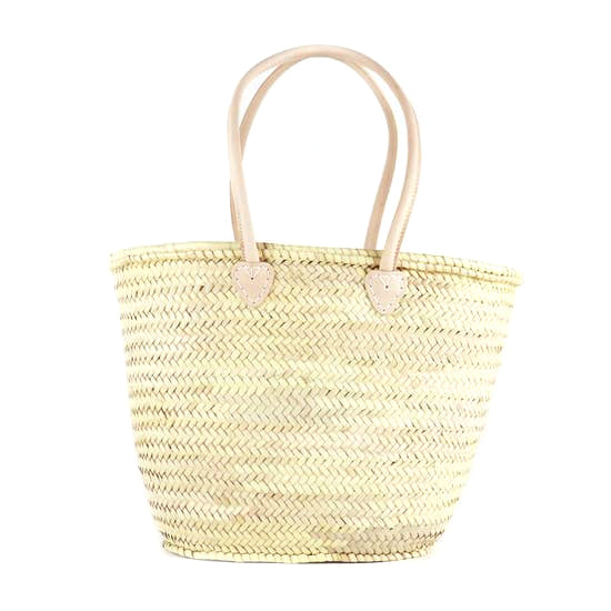 Straw French Basket (Natural Handles)