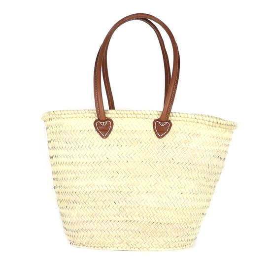 Straw French Basket (Tan Handles)