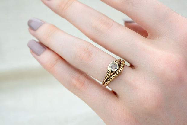 Filigree Rose Cut White Sapphire Ring