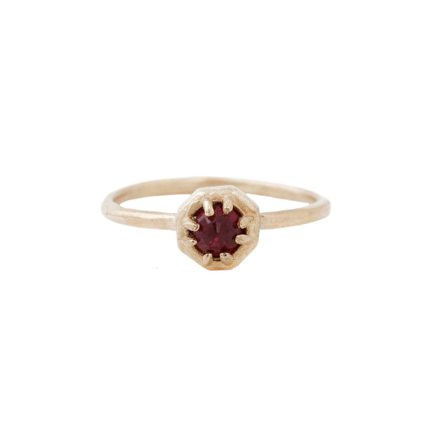 Tiny Octagon Ring - Ruby