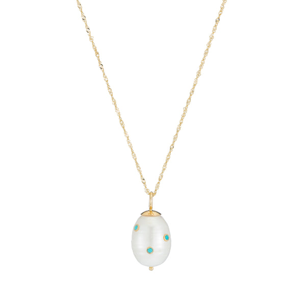 Baroque Pearl Drop with Turquoise Necklace