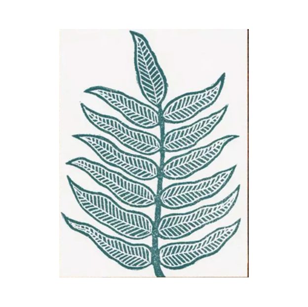 Block Printed Leaf Card - Shelter Jewelry Shop DC