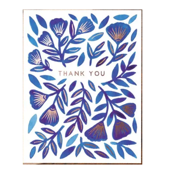 Blue with Copper Foil Thank You Card - Shelter Jewelry Shop DC