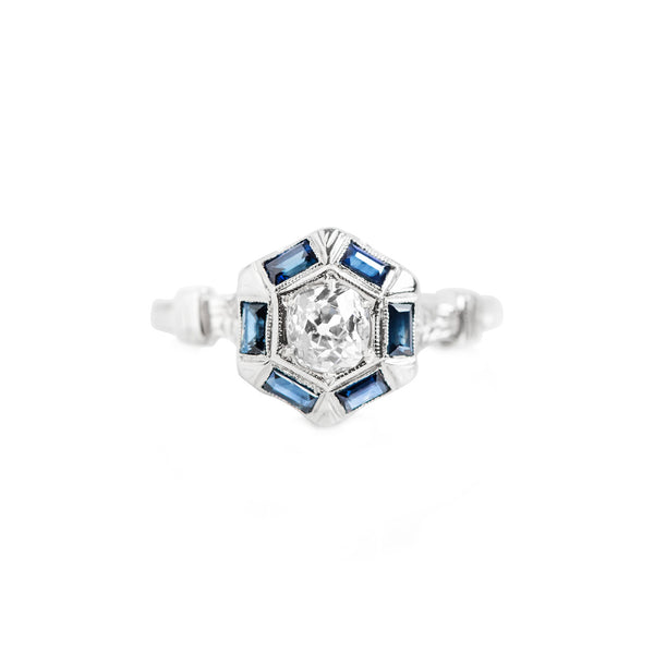 Platinum & Sapphire Hexagon Corrine Ring - Shelter Jewelry Shop DC