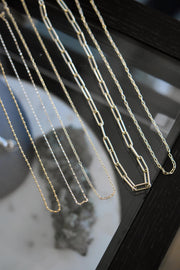14k Gold Large Hollow Paperclip Chain