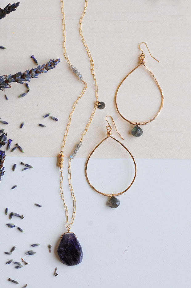 Labradorite Drop Stone Hoops - Shelter Jewelry Shop DC