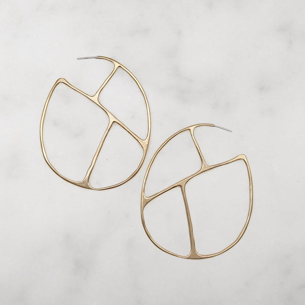 Olivia Hoop Earrings - Brass