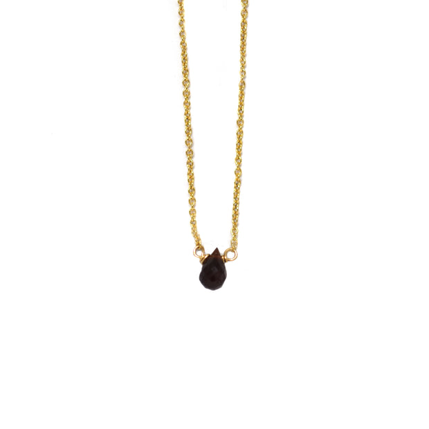 Garnet Mini Drop Stone Necklace
