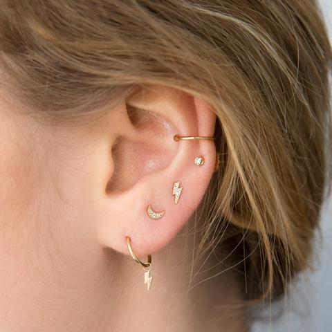 Itty Bitty Pave Crescent Moon Stud - Single