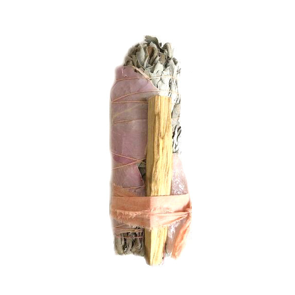 Large Rose and Rose Quartz Smudge Stick
