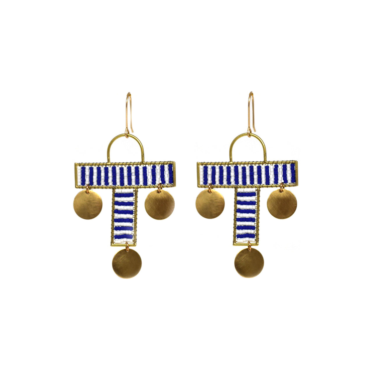 Blue Cross Earrings